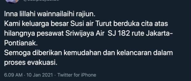 Pesawat Sriwijaya Air Jatuh, Bu Susi Ucapkan Duka Cita