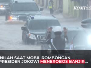 Saat Mobil Rombongan Presiden Jokowi Terobos Banjir Kalsel