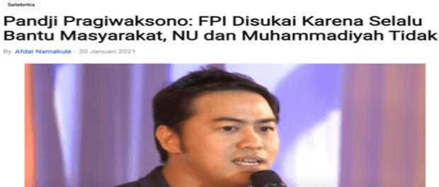 Hanya Karena Bela FPI, Pandji Remehkan Perjuangan NU dan MD