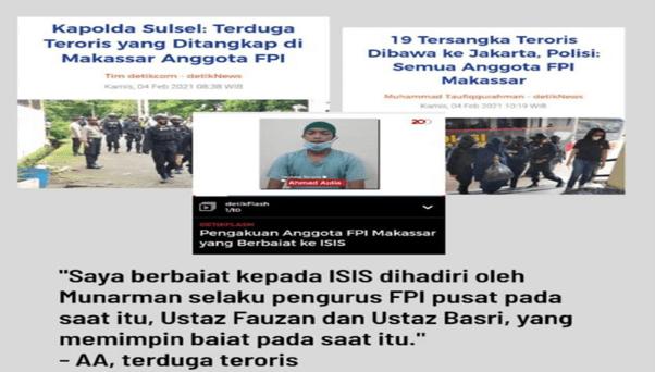 Pengakuan Mengejutkan Terduga Teroris Makasar Simpatisan FPI Berbaiat ke ISIS