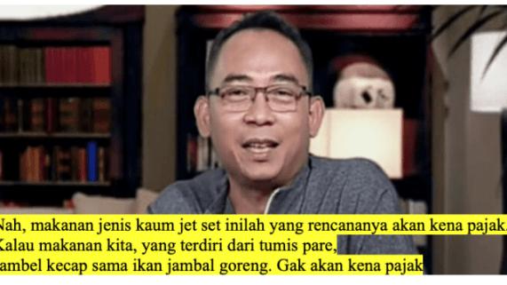 Heboh PPN Sembako, Eko Kuntadhi: Yang Kena Pajak Sekolah dan Makanan Elit