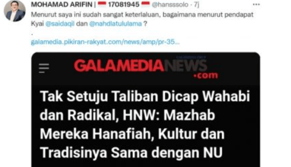 Wakil Ketua Majelis Syuro PKS Samakan NU dengan Taliban