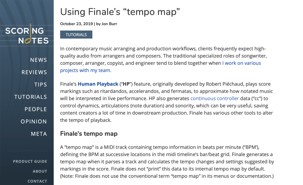 Screen Shot - Using Finale's Tempo Map