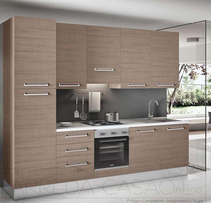Cucina Moderna Completa Legno Olmo Scuro Zenzero K0024