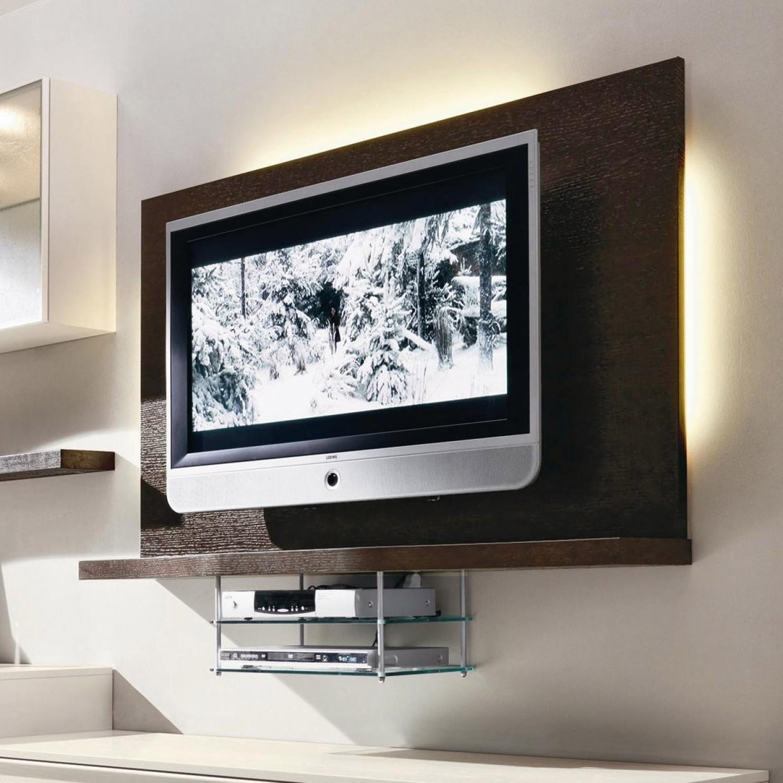 Mensola Legno Tv Parete Attrezzata Moderna Con Base Tv Pensili E
