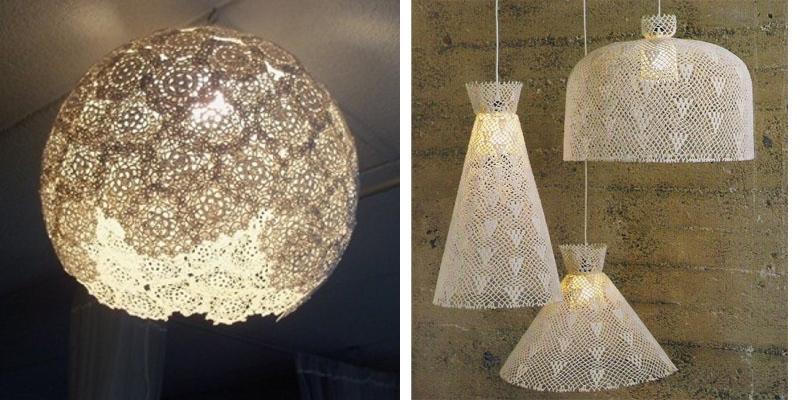Come fare lampada a cappello shabby con centrini e palloncino