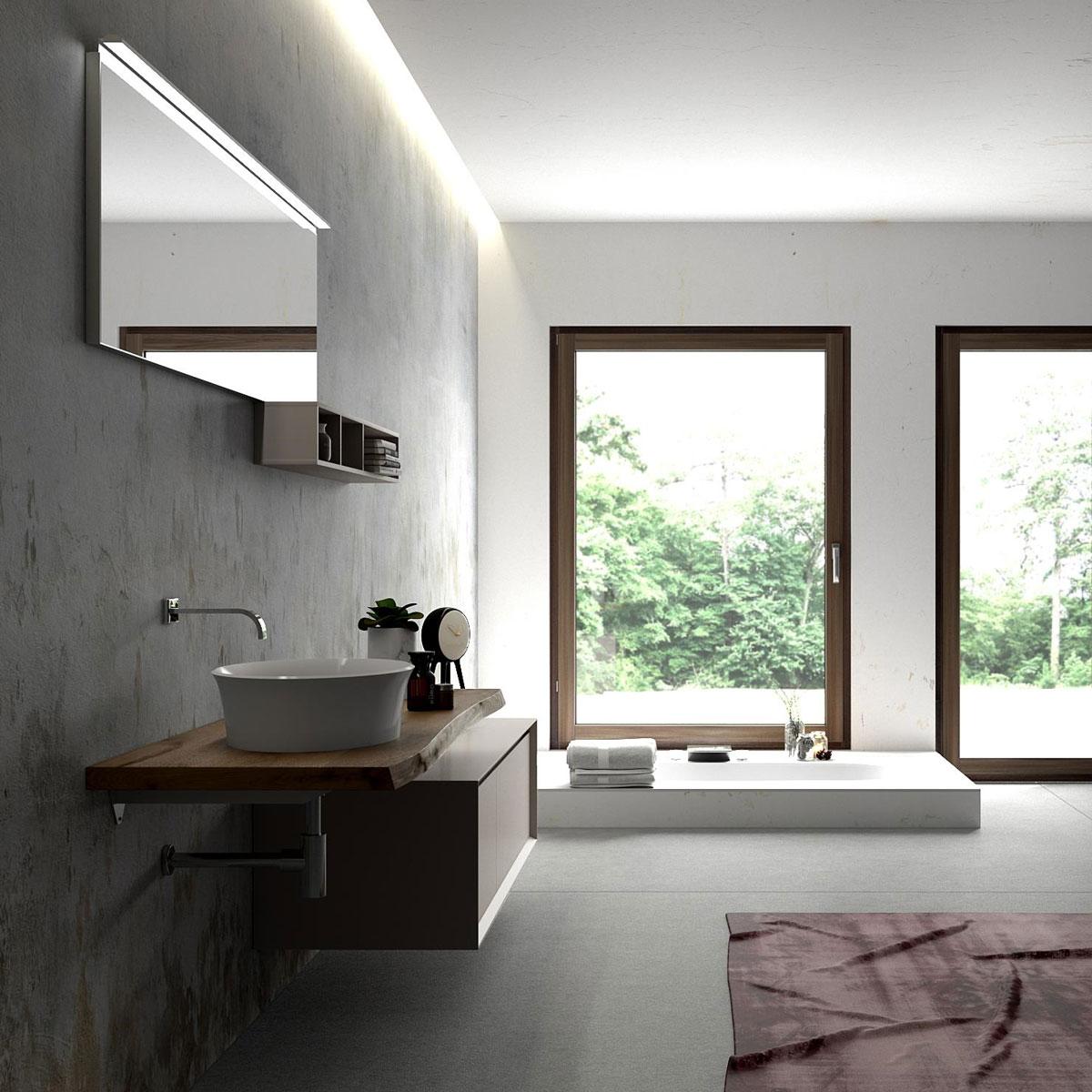 Mobili bagno legno massello paletto illuminazione giardino finta