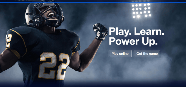 financial football game to teach kids about money