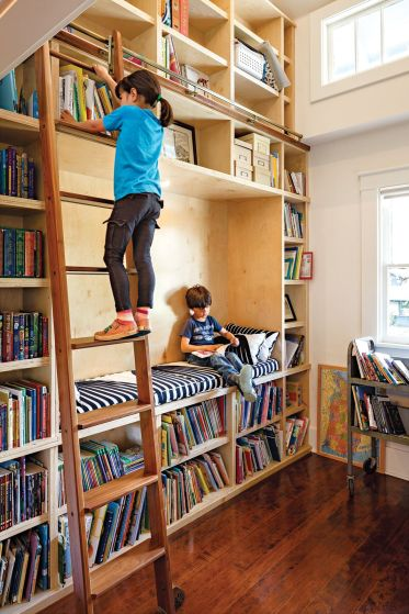 kids-home-library-design-with-ladder