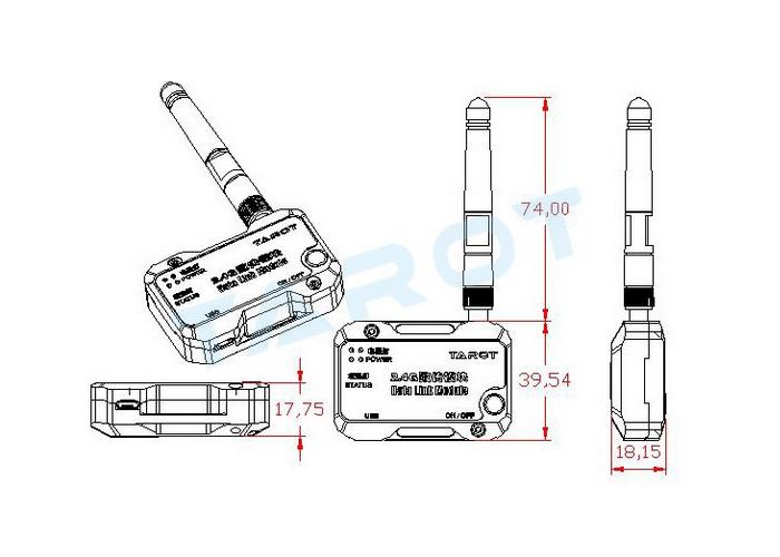 Tarot ZYX-BD 2.4G Bluetooth Data link for ZYX-M Flight
