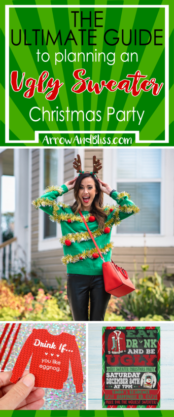 The ULTIMATE guide to planning an ugly sweater Christmas party. Check it out at Arrow and Bliss
