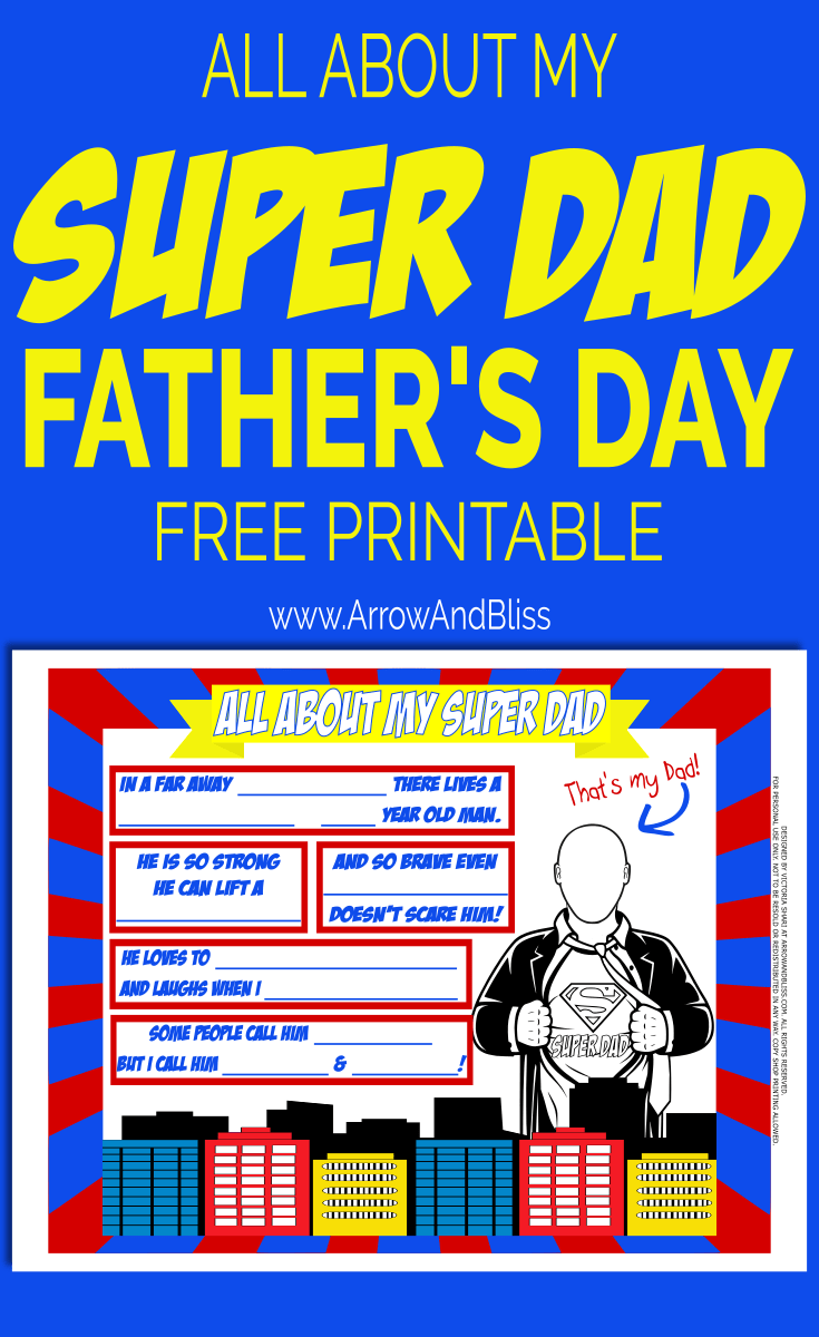 Grab this FREE All About Dad Father's Day Printable! Created by Victoria Shari at Arrow and Bliss.