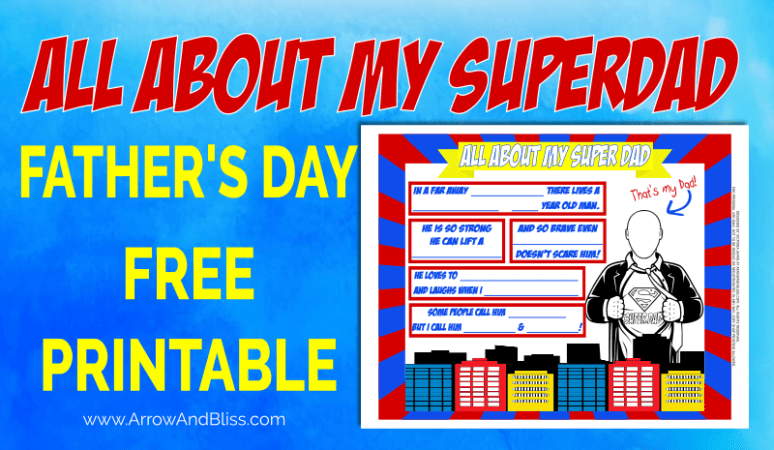 Grab your FREE All About Dad Father's Day Printable. Created by Victoria Shari at Arrow and Bliss