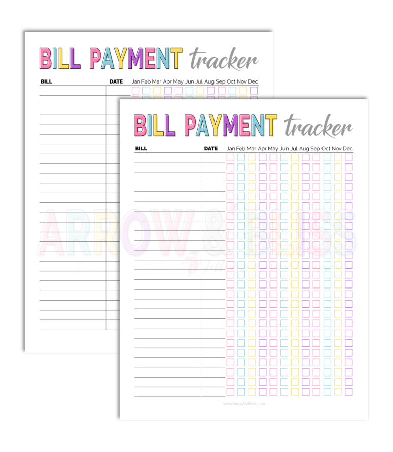 Grab this FREE Bill Tracker as part of the 5 Days of Free Printables series at Arrow and Bliss.