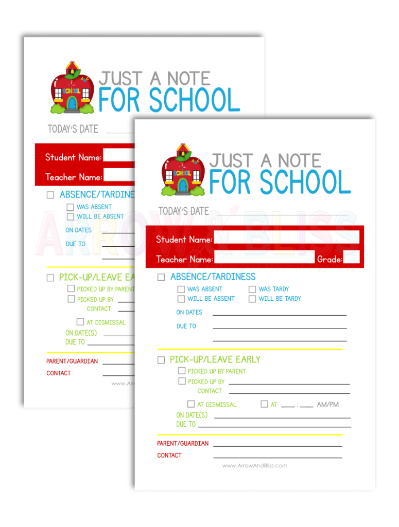 Grab this FREE and editable note to school printable as part of 5 Days of Free Printables series at Arrow And Bliss