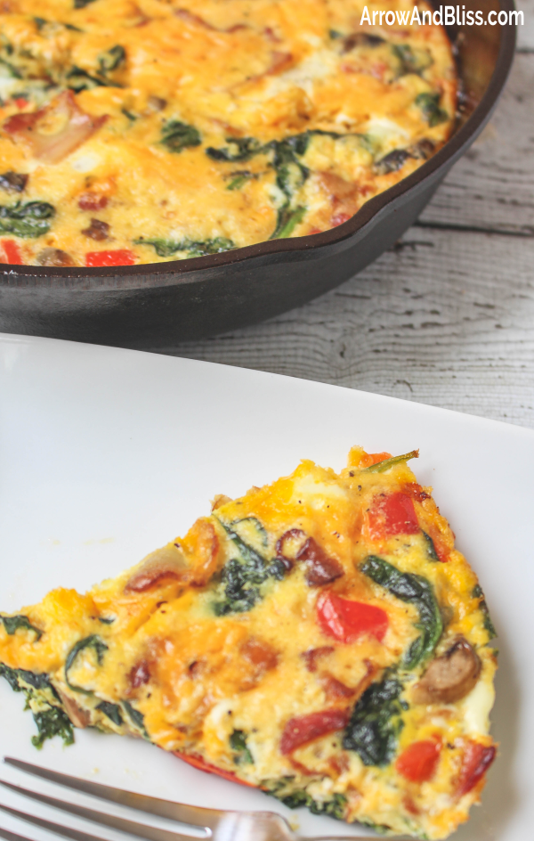 Check out this delicious bacon spinach frittata recipe by Victoria Shari at Arrow and Bliss
