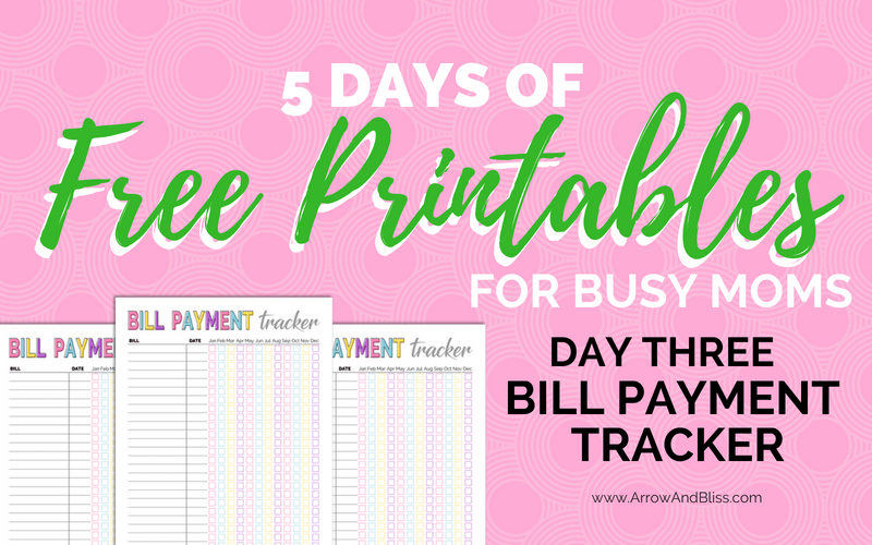 Day 3: FREE Bill Tracker Printable