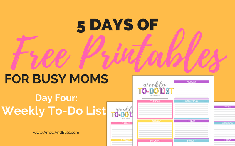 Grab this free weekly to do list printable part of Arrow and Bliss 5 days of free printables