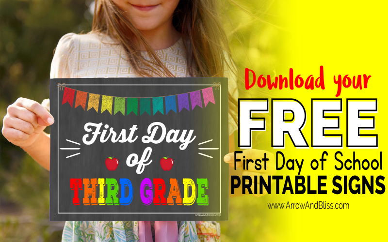 photograph relating to Printable First Day of School Signs called Free of charge Very first Working day of Higher education Printable Signs or symptoms