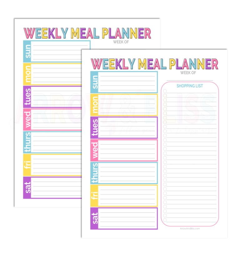 Grab this FREE weekly meal planner plus others in 5 Days of Free Printables series created by Victoria Shari at Arrow and Bliss