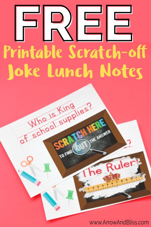 Grab these free printable scratch off lunch notes for back to school. Designed by Victoria Shari at Arrow and Bliss