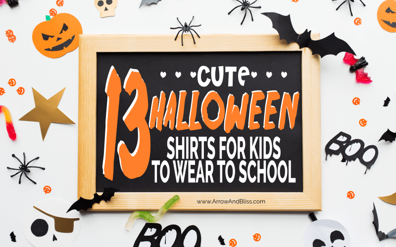 Check out these halloween school shirts kids can wear to school over at Arrow and Bliss. #halloween #halloweenshirt ##kidsclothes #backtoschool