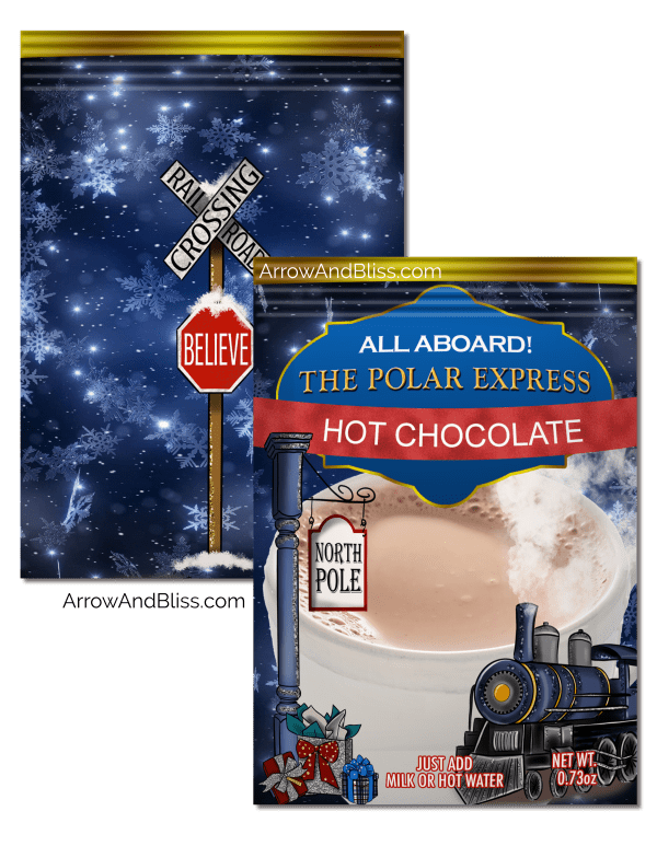 Check out these FREE Polar Express cocoa packet printables at Arrow and Bliss.