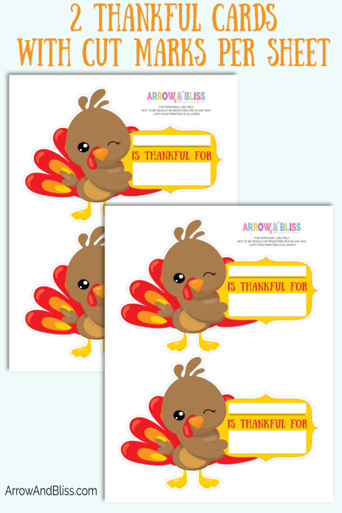 Check out these FREE What I'm Thankful For printable cards at Arrow and Bliss
