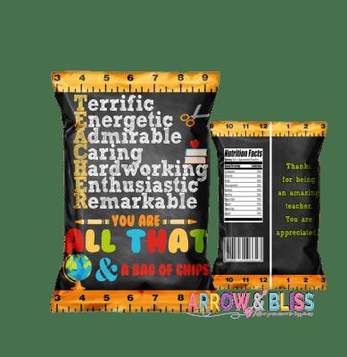 Teacher Appreciation free printable, teacher appreciation chip bag