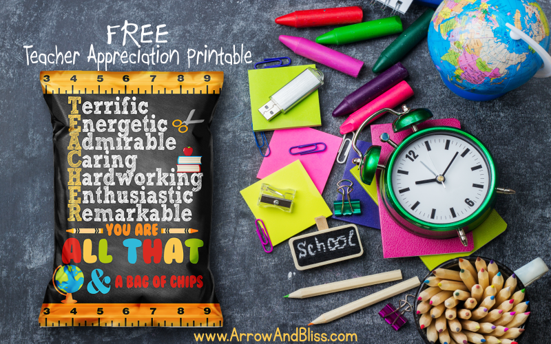 photograph regarding All That and a Bag of Chips Printable named Totally free Instructor Appreciation Chip Bag Printable