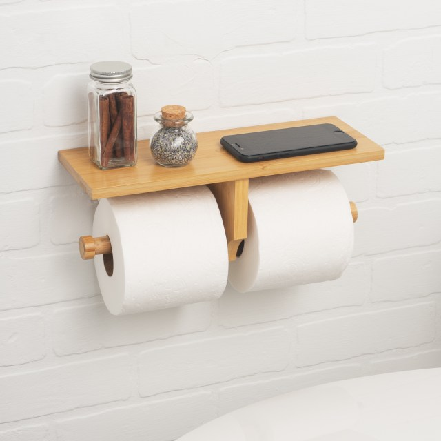 bamboo double toilet paper holder with shelf for cell phone and accessories