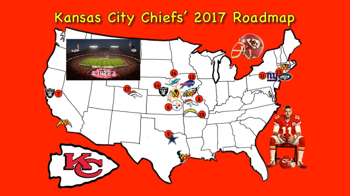The Road Ahead of the Kansas City Chiefs | Kansas City Chiefs Map on map history, map sam houston state university, map nfl, map university of phoenix stadium,