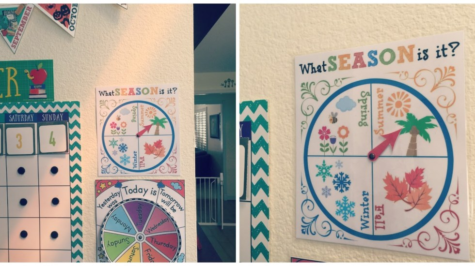 Learning the four seasons of the year is fun and asy with this cute and colorful printable wheel. Great for morning circle time! #circletime #seasons