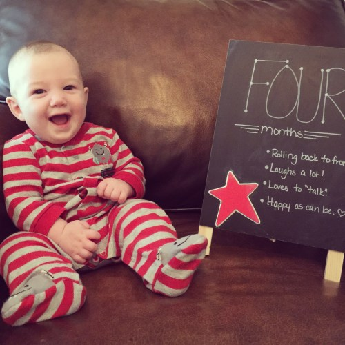Flash is growing fast! I'm keeping our monthly chalkboard picture tradition alive. Enjoy months one through four and a sweet video of big sister getting brother to laugh.