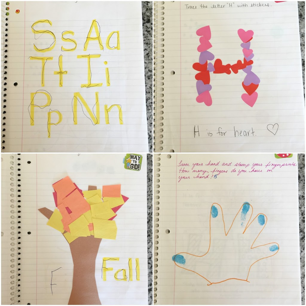 Fun and creative ideas for your little ones preschool journal. Alphabet, number, shapes, and color practice.