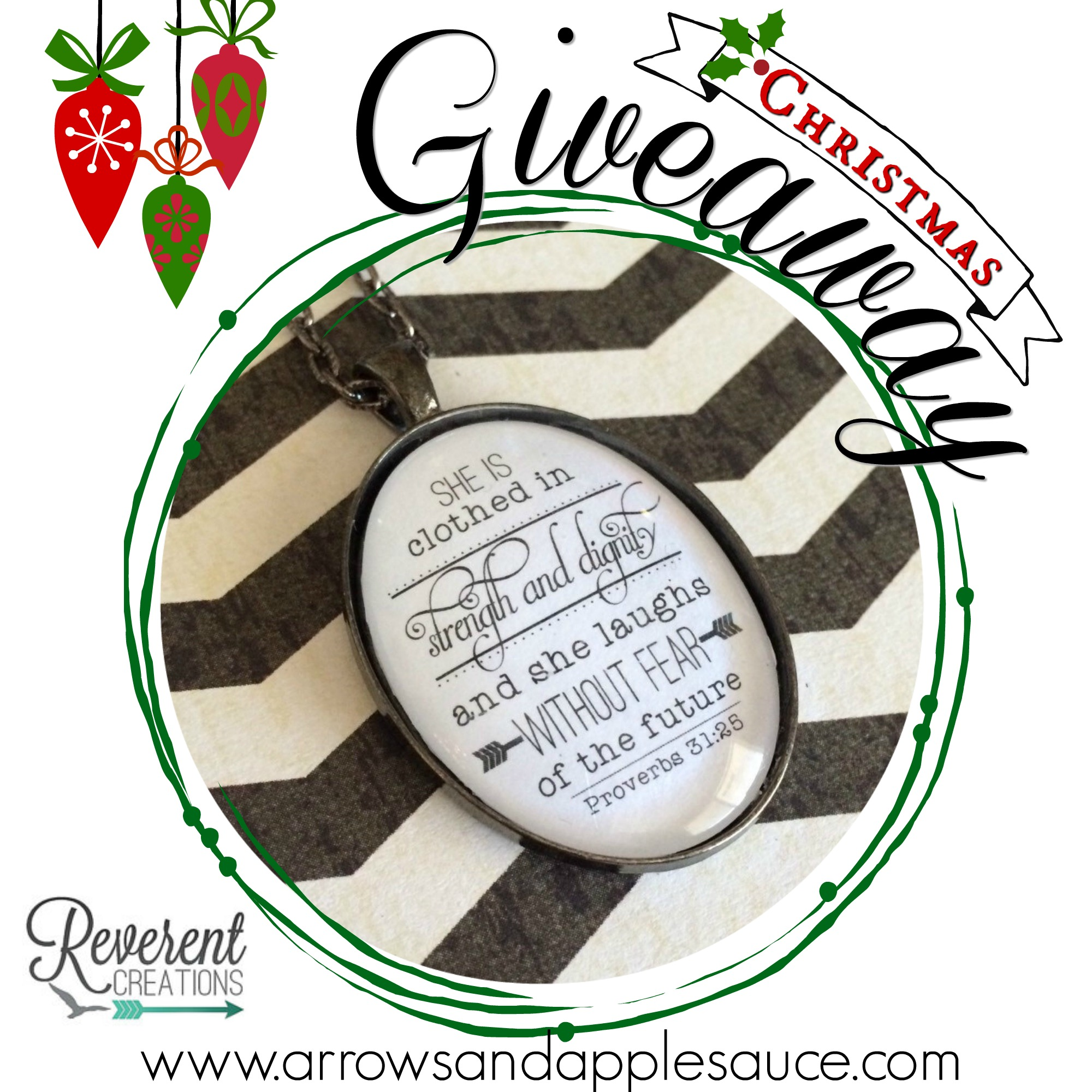 Hosting my first giveaway to celebrate Christmas and my new blog design. Come celebrate with me and enter to win a beautiful necklace from Reverent Creations!