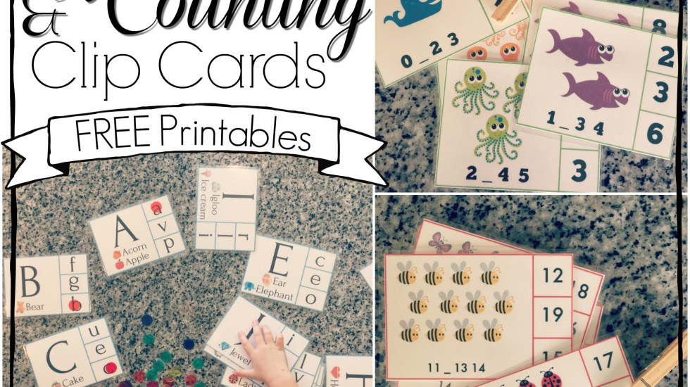 Free alphabet and counting clip card printables. Learning the alphabet and vowel sounds, and counting up to twenty is fun and easy with these cute clip card matching games.
