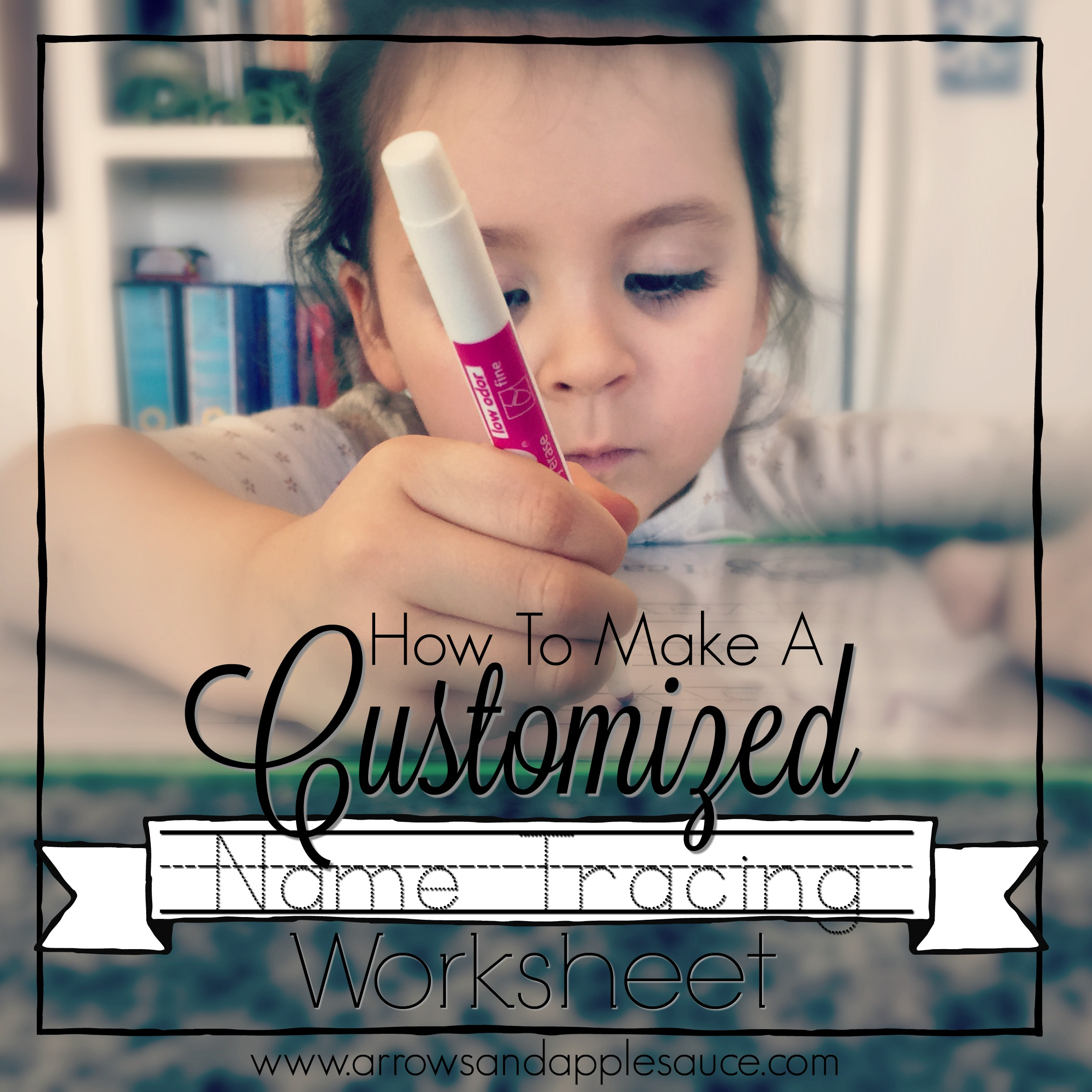A step by step tutorial on how to make a custom name tracing worksheet for your preschooler as they learn to write. #penmanshippractice #learningtowrite #homeschoolpreschool