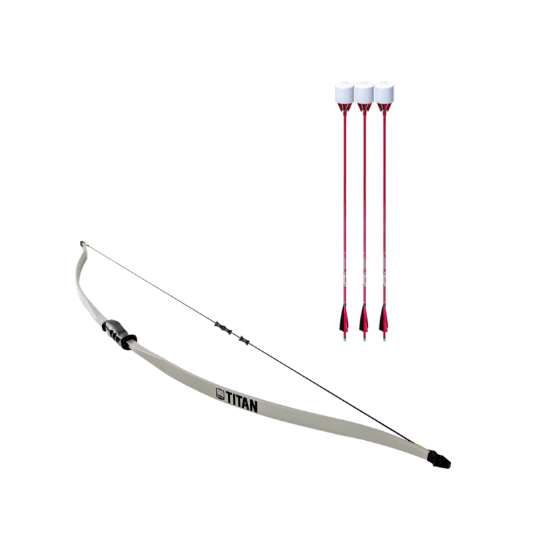 archery set with titan beginner recurve bow, dacron bowstring, and 3 red carbon fiber arrows with foam tip arrowheads arrowsoft sports