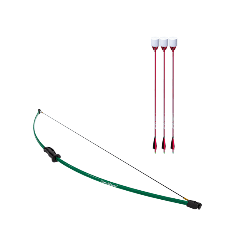 archery set with wizard beginner recurve bow and 3 red carbon fiber arrows with foam tip arrowheads arrowsoft sports