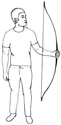 holding a strung recurve bow