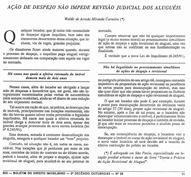 1993-10_AçãodeDespejoNãoImpedeRevisãoJudicialdosAlugueis