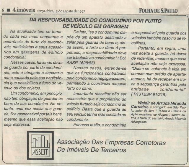 1997-08-05_DaResponsabilidadeDoCondomínioPorFurtodeVeículoEmGaragem