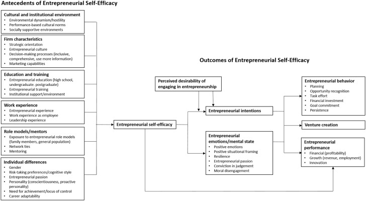 Entrepreneurial Self Efficacy A Systematic Review Of The Literature On Its Theoretical Foundations Measurement Antecedents And Outcomes And An Agenda For Future Research Sciencedirect