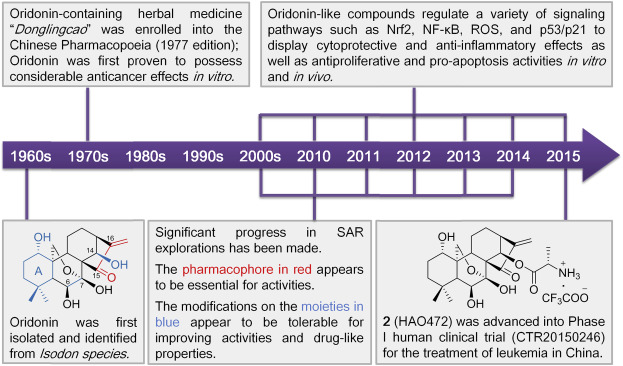 Major milestones achieved in oridonin-inspired drug discovery and development.