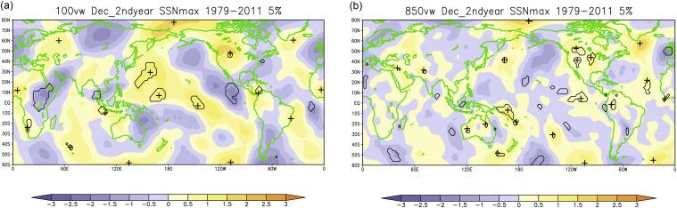 anomalias vento meridional [m / s] em (a) 100 hPa e (b) 850 hPa em dezembro de ...