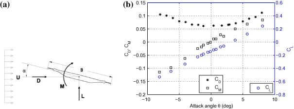 Deck experimental aerodynamic characteristics [5]: (a) reference system, (b) ...