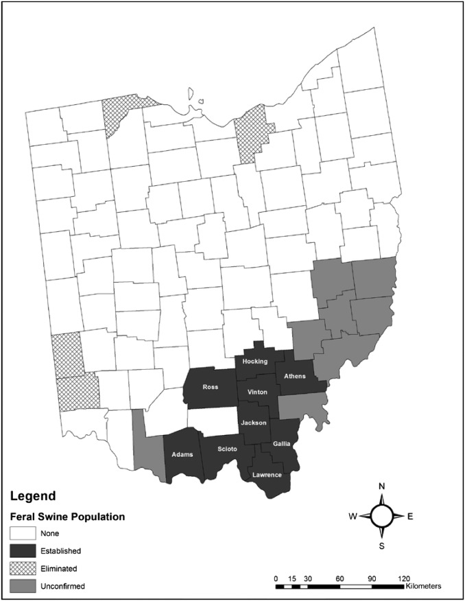 Wild Hog Population Map 2017 : population, Infectious, Agents, Feral, Swine, Ohio,, (2009-2015):, Evolving, Agriculture, Public, Health, ScienceDirect