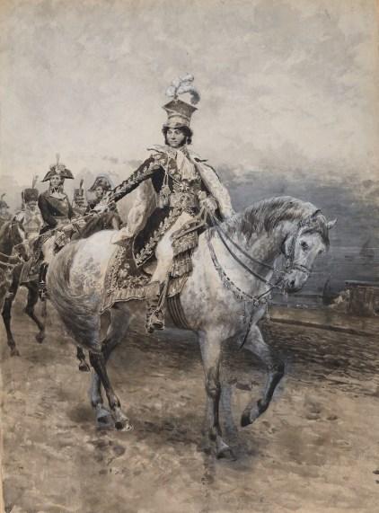 Edoardo Matania_Gioacchino Murat re di Napoli, tecnica mista su carta, 54.6 x 40 cm