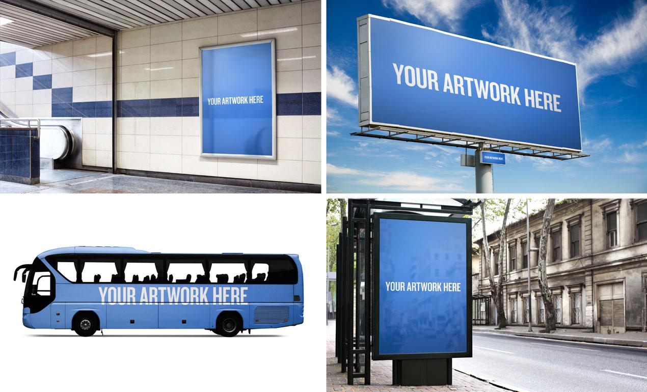 city advertising mockup templates